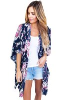 Wholesale Kimono Open Front - Flower Print Open Front Kimono in Navy Casual Crochet Lace Chiffon Coat Cover Up Blouse 8colors choose free ship