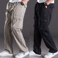 Wholesale Thin Overalls - Thin summer casual pants male fat XL Multi Pocket Jeans Pants overalls elastic waist pants fat fat men