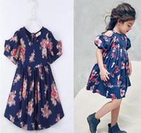 Wholesale Color Dot Flower - Girl Flower Princess Dress Baby Girl Floral Off Shoulder Kids Short Sleeve Top Navy Color 5 P L