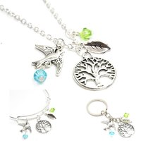 Pendant Necklaces spirit charm - 12pcs Tree necklace charm love natural peaceful bird spirit of life charm pendant necklace bangle keyring