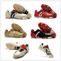 Wholesale limited soccer cleats - Wholesale Drop Shipping 2017 Predator Mania Cleats Champagne Red Black Gold Limited Edition Size EU39-45 Soccer Boosts Football Shoes