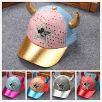 Wholesale Snapback Horns - Mickey Novelty Ox Horn Fashion kid baseball caps baby hats wholesale Colorful New Sequins Mesh Children Caps Free Shipping Kids Snapback Cap