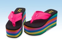 Wholesale Dog Sandals Shoes - Rocket Dog Rainbow 10 cm Thick Bottom Sponge female beach slippers shoe pinches summer antiskid wedge sandals