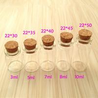 Wholesale Wholesale Mini Glass Jars - Wholesale- mini glass bottle with cork stopper, 3ml, 5ml, 7ml, 8ml, 10ml, 15ml, 20ml glass jars, free shipping world wide