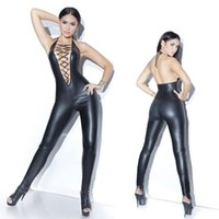 Sexy Black Women Faux Leather Wet Look PVC Catsuit Ladies Girl Fancy Dress Jumpsuit Exotic Clubwear Costumes L1087 MLXLXXL