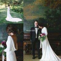 modernos vestidos de noiva elegantes venda por atacado-Modern Barato 2017 Mangas Compridas Backless Vestidos de Casamento Elegante Bateau Neck País Praia Verão Longos Vestidos de Noiva Plus Size Custom Made