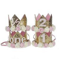 cintas para la cabeza metálicas anudadas al por mayor-1st Baby Girls Sombrero de cumpleaños recién nacido Flower Girls Diadema Crown Girls Accesorio para el cabello Glitter Baby Recién nacido Headwrap