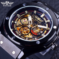 Wholesale Male Scrubs - Winner 2017 Matte Scrub Golden Dial Inside Design Sport Men Watches Top Brand Luxury Automatic Mechanical Skeleton Male Men Wrist Watch