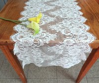 Wholesale Cotton Decorations Wedding - Table Runners Chair Sashes Covers Tablecloths Wedding Party Decoration Home Garden Kitchen Decor Floral Jacquard WHITE BLACK Lace 42*300cm
