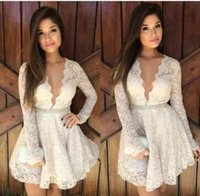 Wholesale White Dresses For Women Cocktail - 2017 2017 Short Lace Cocktail Dresses Long Sleeves Plunging Necklines A Line Mini Modest Party Homecoming prom Dress For Woman Cheap Custom