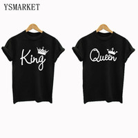 Wholesale Camisa Fashion Women - New Black Couple Shirt Short Sleeve Loose Fit Lovers Tops King and Queen Print T-shirt Plus Size S-4XL Camisa de la pareja H2850