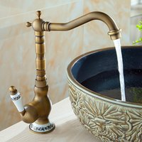 Wholesale Handles Oil Rubbed - Centerset Faucet Antique Copper Faucet Vintage Style Bronze with Antique Brass One Handle and Single Hot and Cold Water
