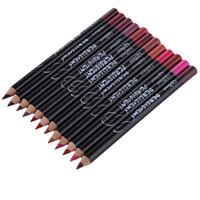 profesyonel makyaj kalemleri toptan satış-12 adet Profesyonel multi-fonksiyonel Lipliner Kalem Uzun Ömürlü Su Geçirmez Dudak Göz Kaş Kozmetik Makyaj Renkli Dudak Kalemi Kalemler