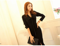 Wholesale Korea Work Dress - Autumn chalaza collar neck dress korea office wear black midi dress with long sleeve formal dresses