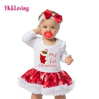 Wholesale 18 Month Winter Dress - Christmas Baby Clothes Snowflake Cotton Soft Long Sleeve Newborn Rompers Dress Baby Girls Clothing Set 4pcs New Year Bodysuit Infant Skirt