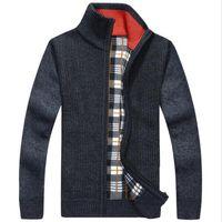 Wholesale Cardigan Big Size - Men's Sweaters Winter Warm Thick Velvet Sweatercoat Zipper Collar Casual Cardigan Men Sweaters Pattern Knitwear Big Size 3XL 2XL