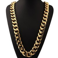 Wholesale Snake Necklace Hiphop - Hiphop Cuban Thick Chain Necklace Gold Plated Miami Mens Stainless Steel Chains Collier Long Male Necklace Jewelry For Men Y#133
