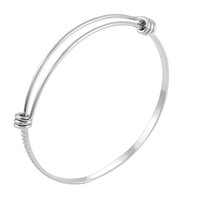 Wholesale Diy Silk Thread - CJB0462 Factory Directly 316L Stainless Steel Expandable silk thread Bangles Cuff bracelets for DIY Charms Gift for Women