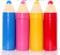 Wholesale Vacuum Sealed Cups - Cute Colorful Pencil Shaped Mug Internal Stainless Steel Cup Vacuum Insulation Cup Seal Bottle Thermos Children's Drinkware