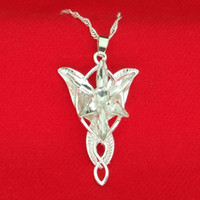 arwen evenstar ring al por mayor-Lord of Ring Arwen Star Necklace Colgante Evenstar de plata y blanco con cadena de plata Joyas de moda para mujer Envío de gota