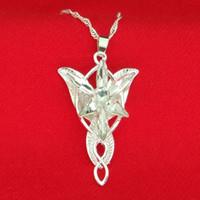 evenstar kolye efendisi yüzükleri toptan satış-Yüzük efendisi Arwen Yıldız Kolye Gümüş ve Beyaz Evenstar Kolye Kadınlar için Gümüş Zincir moda Jewlery ile Bırak Nakliye