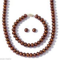 Wholesale Pearl Jewel Necklace - 7-8MM Cultured Freshwater Pearl Necklace Bracelet Stud Earring Jewel Set