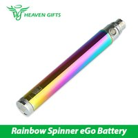 Wholesale Rainbow Adjustable E Cig Batteries - New Rainbow Vision Spinner Battery Mod 1300mAh eGo Variable Voltage Battery with 510 eGo Thread e cig Battery Clearance Price
