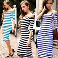 Wholesale Slim Style Western - New Arrival Western Style Slash Neck Off Shoulder Sheath Dress Spring Summer Striped Slim Long Dress One Piece Shipping