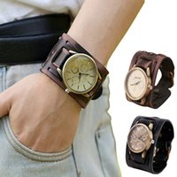 Wholesale Mens Wide Leather Cuff Bracelets - New Style Orologio Uomo Mens Retro Punk Rock Brown Big Wide PU Leather Bracelet Cuff Cool Watch Casual Quartz Waistwatch