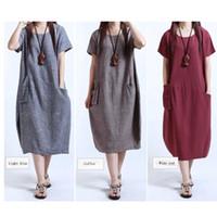 Wholesale Natural Linen Dresses - Wholesale Women Dresses Casual Women Cotton Linen Short Sleeve Long Loose Maxi Dress Sundress Clothes