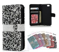 Wallet Flip Diamond Case Bling Crystal PU Slot pour carte en cuir pour LG lv3 ms210 ZTE Grand x4 LG Stylu 2 plus ZTE Tempo N9131 iPhone 7 Samsung
