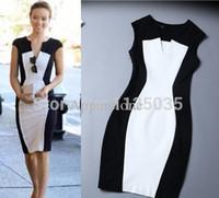 Wholesale Celeb Black Spandex Dress - Wholesale-New Fashion Women Summer dress Celeb Style Slim Bandage Tunic black white stitching dresses sexy Party Plus Size Bodycon Dress