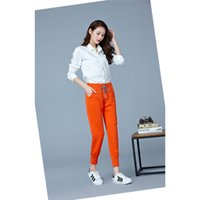Wholesale Harem Pants For Womens - Women Spring Pant Mid Waist Elastic Tie for Ladies Daily Elegant Slim Womens Formal Trousers Long Harem Pants Ninth Womens Bottom