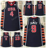 Wholesale Xxl Six - 2004 Dream USA SIX Basketball Jerseys Team 6 Athens Olympic 4 Allen Iverson 21 Tim Duncan 23 LeBron James Jersey Stitched Quality