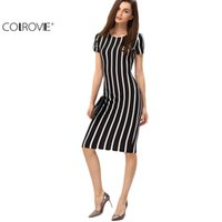 Wholesale Vertical Striped Dress Women - COLROVIE Women Vertical Striped Fitness Dresses Work Summer Style Sexy 2016 New Short Sleeve Sheath Office Midi Dress 17309