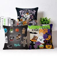 Gatos Tiran Baratos-Funda de almohada de Halloween Lino Cat Pumpkin Fundas de almohada Cartoon Throw Pillow Cojín Fundas Hallowmas Home Decor Fundas de almohada YW69-2