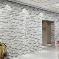 Wholesale Mural Wallpaper Brick Stone - Wholesale- 3D Embossed Vinyl Wallpaper Mural Papel De Parede Modern Stone Brick Waterproof PVC Wall Covering Paper Living Room Home Decor