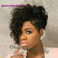 Wholesale Wig Fringes - New Celebrity Black Flapper Jazmine Sullivan Hairstyle wig Long Curly Fringe Short Pixie Cut Unique Full Wigs for Black Women
