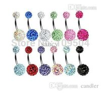 Wholesale Disco Ball Navel - Crystal Double Disco Ball Ferido Belly Bar Navel Belly Button Ring Shamballa Belly Ring Piercing jewelry 10mm