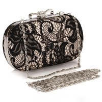 Wholesale Black Rhinestone Hobo Purse - Black Lace Sequins Clutch Evening Bags Handbags High Quality Evening Ladies Purses For Party Bridal Hand Bags CPA807