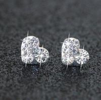 Wholesale Clover Diamond Earrings - Trendy Bridal Jewelry Pearl Blue Diamond circular new clover anti allergy star moon Silver Diamond pierced earrings cheap shipping type