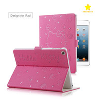 Wholesale Tablets Cartoon Cover - Hot Sale 2017 Tablet Case for Apple iPad 2 3 4 Air Air2 Mini Mini4 Hello Kitty Cartoon PU Leather Protective Cover Case