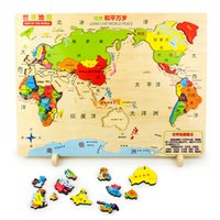 Wholesale Puzzles Map - Exquisite World Map Montessori Wooden Toys Puzzles Lepin Box Educational Toy Puzzle Teaching Aids Set Materials