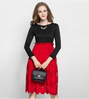 Wholesale Long Tight Lace Dresses - Fashion Black And Red Dresses Long Sleeves Round Neck Tight Empire Waist Chiffon Lace Dress 2017 Spring Party