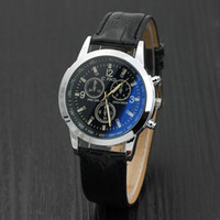 Wholesale Roman Bronze - Mens Roman Numerals Blue Ray Glass Watches Men Luxury Leather Analog Quartz Business Wrist Watch Men's Clock