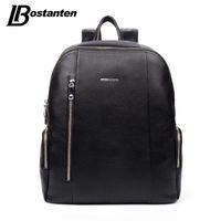 Wholesale large leather laptop backpacks - Wholesale- BOSTANTEN Famous Brand Genuine Leather Men Backpack Bags Large Men Travel Bag Luxury Designer Leather School Bag Laptop Backpack