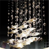 Wholesale Cognac Chandelier - Modern Glass Fly Fish Ceiling Light Swarm Fishes Chandelier Living Room Light Crystal Cognac Color Fishes Ceiling Lamps