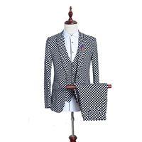 Wholesale Mens Dress Set - Wholesale- (3 Pieces set) British Men Suit Black White Small Plaid Slim Fit Male Tuxedo Wear Mens Dress Suits Formal Wedding Suits For Men