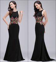 Wholesale Designer Evening Wear - 2018 New Model Pictures Formal Long Evening Dresses with Embroidery Appliques Illusion Waist Pageant Wear Black Party Wear CPS716