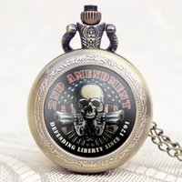 Wholesale-Old Vintage 2ND AMENDEMENT Theme America Flag Avec Skull Gun Design Case Montre de poche avec collier en chaîne